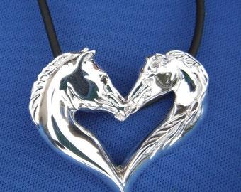 Loving Horse Heart Pendant  Lg.