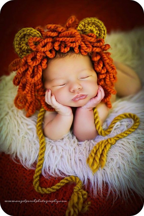 Photo Set Crochet Newborn Photography Boy Infant Knit Lion Hats Pants Baby Props