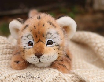 3b26499336b2 Tiger cub Amadeus realistic wild cat. OOAK artist Handmade collectible  animal by photo art doll Stufed tiger toy (made to order)