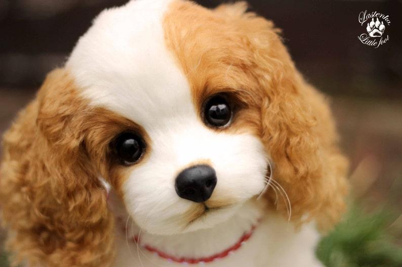 Cucciolo Di Cavalier King Charles Spaniel Cane Ooak Orsacchiotto Cane Realistico Peluche Giocattolo Da Collezione Ritratto Animale Domestico Da Cane