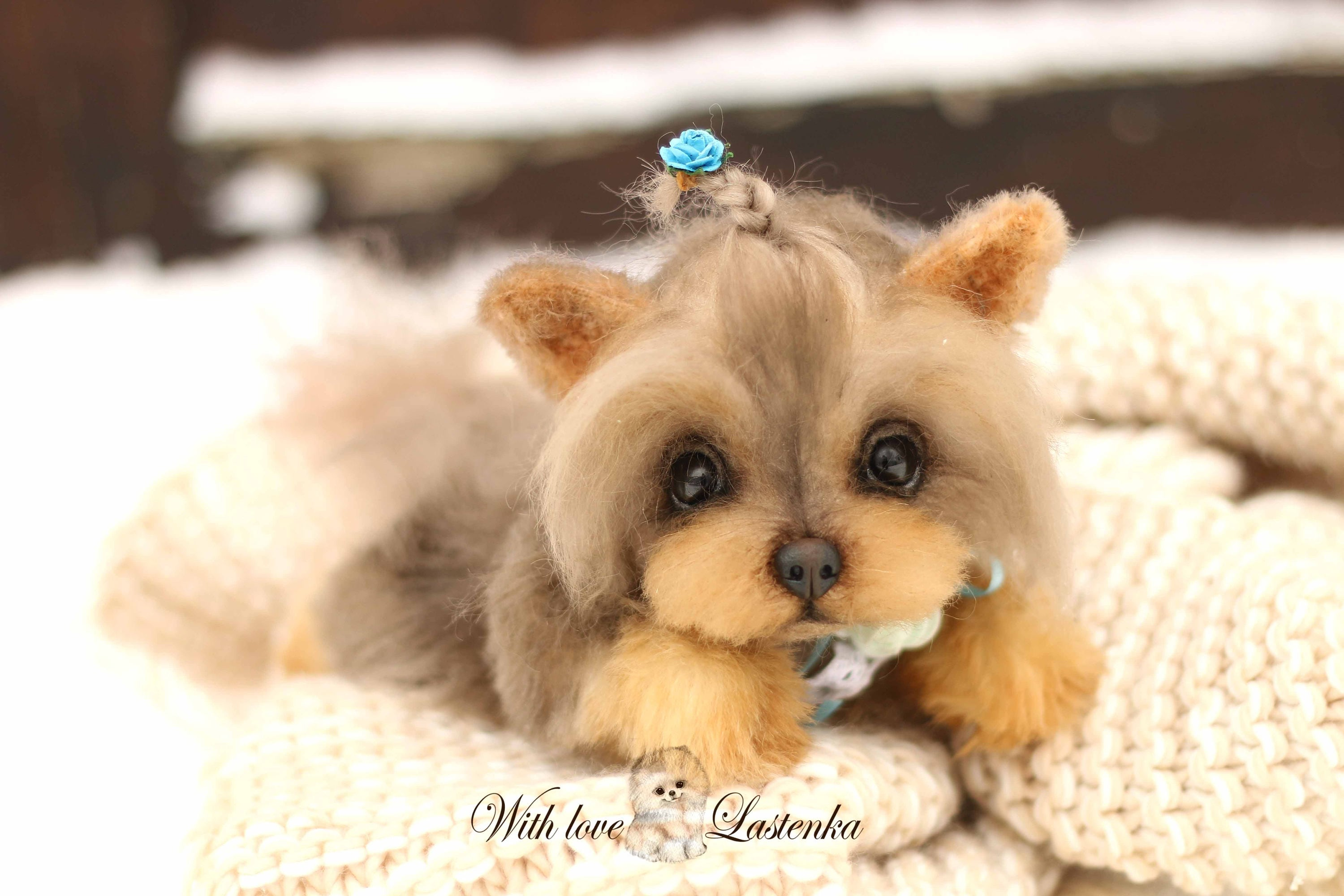 Yorkie Plusha Handmade Lux Mohair Stuffed Dog Collectible Etsy
