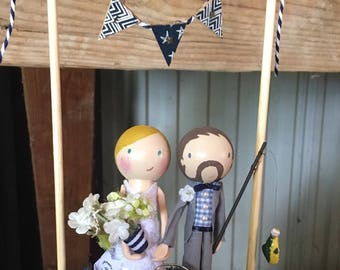 Custom Clothespin Doll Wedding Cake Topper - Handmade just for you!