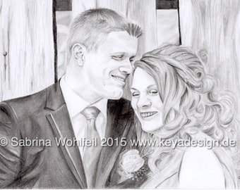 Custom Family Portrait, Pencil drawing, Photo to sketch, Personalized gift, Wedding, Engagement, Valentine's Day, Family Love, Couple Gift