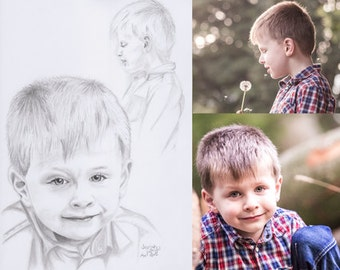 Father's Day present custom pencil drawn portrait of your child DIN A4 or A3