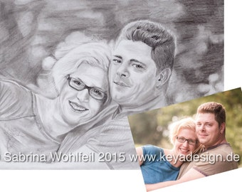 Custom Family Portrait, Pencil drawing, Photo to sketch, Personalized gift, Wedding, Engagement, Valentine's Day, Wall Art, Wall Decor