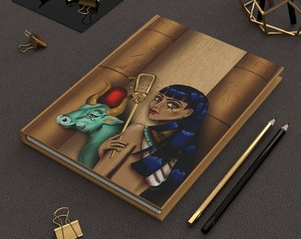 Hardcover Matte Lined Journal Goddess Hathor, the Egyptian goddess of the sun, love, and music, digital fine art print