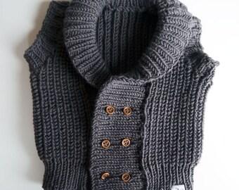 Merino knit waistcoat fisherman rib stitch dark brown