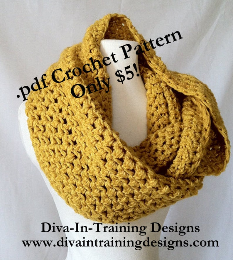 Crochet Pattern: The Simple Series Infinity Scarf Instant image 0