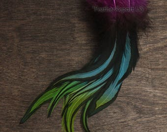 """25 GREEN DYED SOLID ROOSTER TAILS CRAFT MILLINERY FEATHERS 8/""""-10/""""L"""