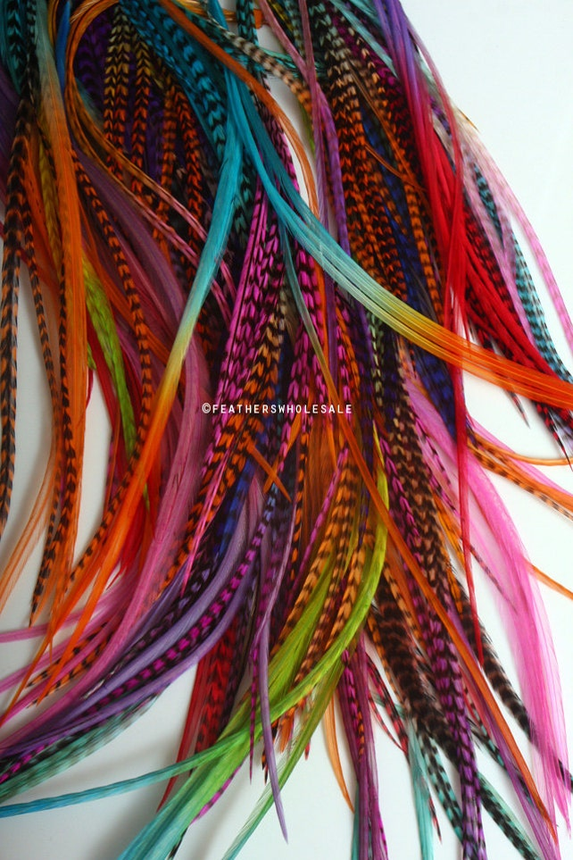 Creative Color Hair Feathers Wholesale 7 11 Inch Mixed Rainbow Etsy