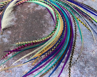 Salon Feather Extensions Bulk XXL Hair Feathers Long 14-19 inch Ready2Ship Pack of Bonded Feathers for Hair Exotic Hair Accessory