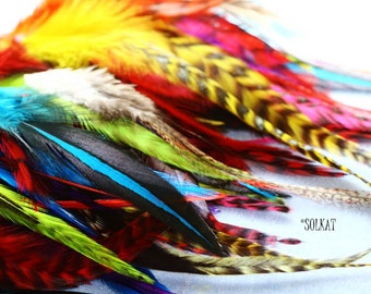 Craft Feathers Mix Bulk Rooster Saddle Feathers for Earrings Hair Accessories 3-10 inches Real Feathers for Craft Supplies Hackle 50PCS