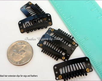 Black Hair Extension Clips Snap Clip Weft Comb Clips QTY10 Commercial Findings Discount Beauty Supply, 32MM Snap ON Extensions
