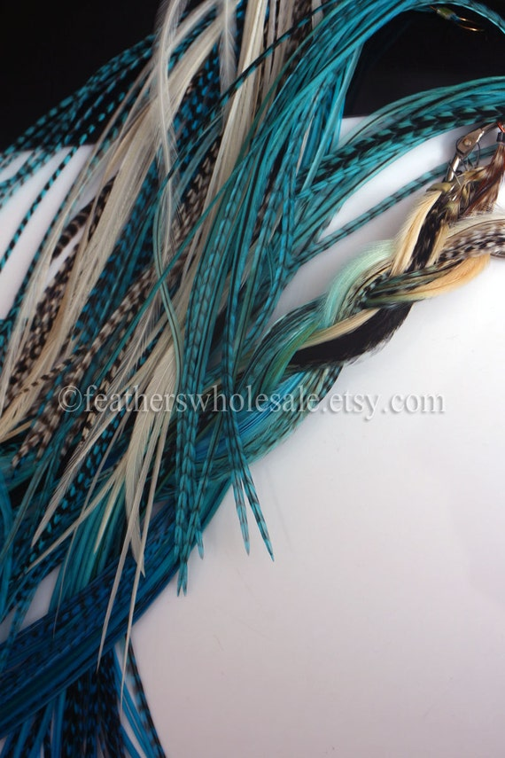 Ocean Blue Feather Hair Accessories Long Feather Extensions Etsy