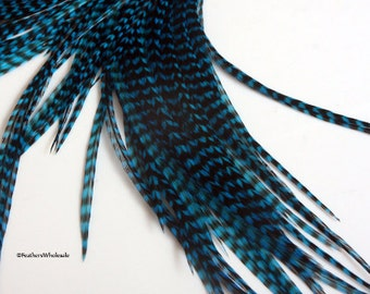 Extra Long Grizzly Feathers Dyed Turquoise Blue Feather Hair Extensions Fly Tying Hackle Plume Cheveux Turquoise Hair Feathers 10PACK