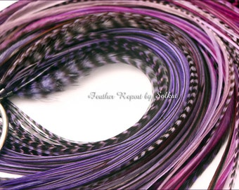 Purple Hair Feather Extensions 10 Ultra Violet Purple Feathers for Hair - Women Hair Accessory - Rooster Feather Hair Extensions