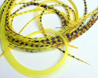Yellow Hair Feathers 7 Long Bright Yellow Feather Extensions Yellow Feather Hair Accessories