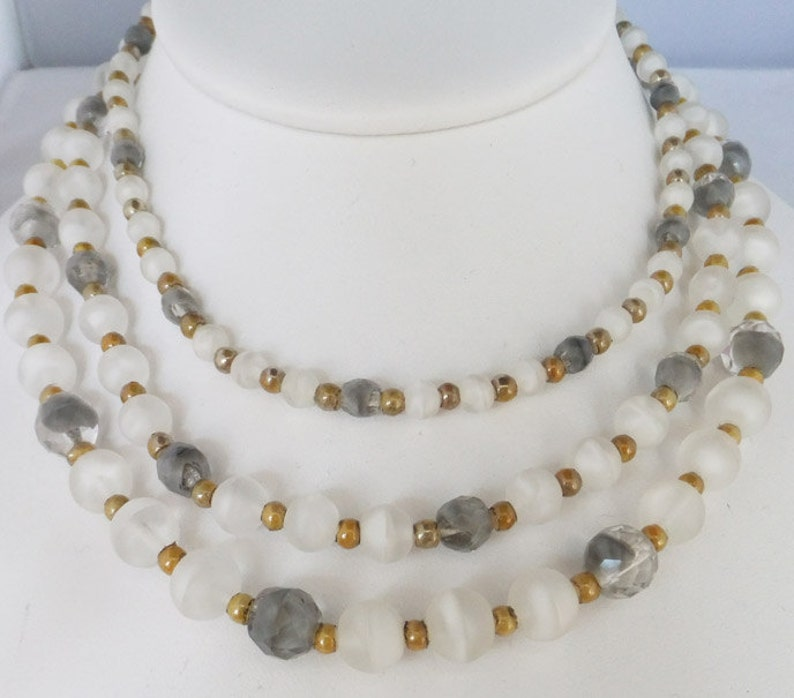 Vintage jewelry necklace 3 strand bib in grey white gold Art Glass necklace Sale half price with free shipping