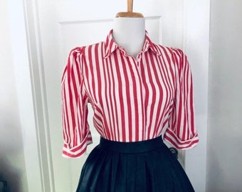 f179adb3 Vintage 60s Striped Blouse ~ 1960s Red & White Striped Women's Blouse ~  Short Sleeve Shirt ~ Button Down Mad Men Top ~ Rockabilly Pin Up WL