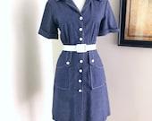 Vintage 1960s Scooter Dress 60s Blue Denim Chambray Mod Twiggy MiNi Dress Mad Men Secretary Shirt Dress Short Sleeve Mod GoGo Scooter