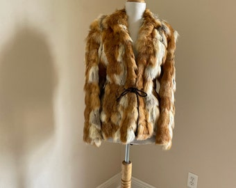 boho mod S M 1960s Vintage bell sleeve fur coat couture striped tan brown white gray calico jacket leather belt