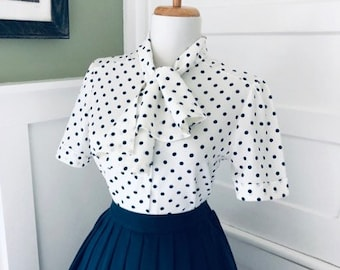 7b1c64edc1 Flirty Vintage 60s Polka Dot Blouse With Bow | Navy Blue & White Polka Dot  Button Short Sleeve Shirt Ascot Tie Neck Secretary Pin Up Top