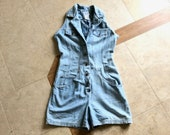 Vintage Women Denim Shorts Romper 80s 90s Blue Jean Cotton Coveralls Sleeveless Romper with Lace Up Corset Back