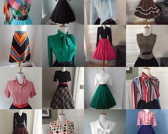 Cheap Womens Bulk Vintage Clothing / Bulk 50s 60s 70s 80s 90s Clothes Lot / Online Wholesale Vintage Clothing Bundle 10 pc Blouse Skirt Lot