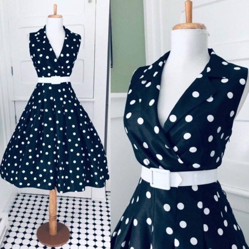 3130058ae21 Vintage Black   White Polka Dot Dress   1950s 80s Retro I Love