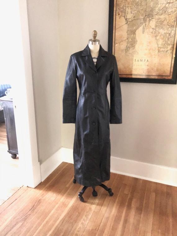 Vintage Black  Womens Leather Trench Coat + Ladies