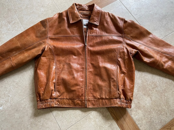 Vintage Brown Leather Bomber Jacket | Mens Wilsons