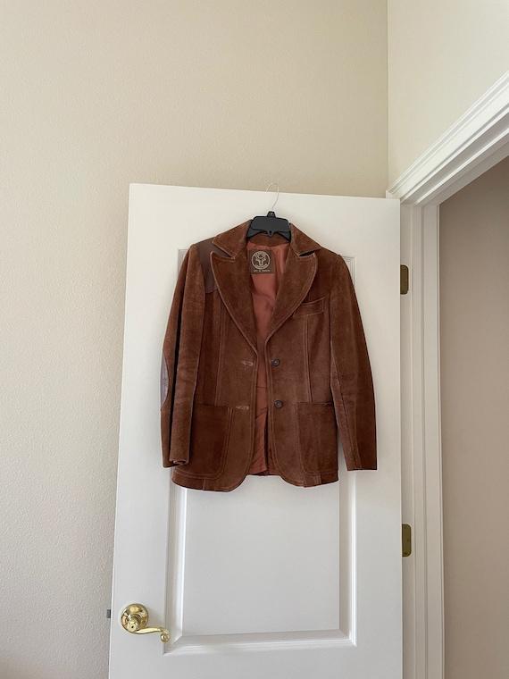 Vintage Women's Brown Suede Leather Blazer Jacket