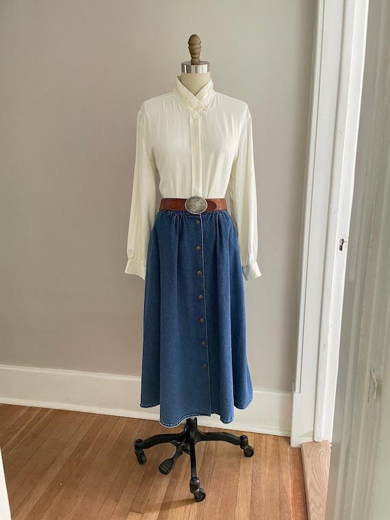 Women's VINTAGE 70s 80s Denim Full Skirt   Rockabi