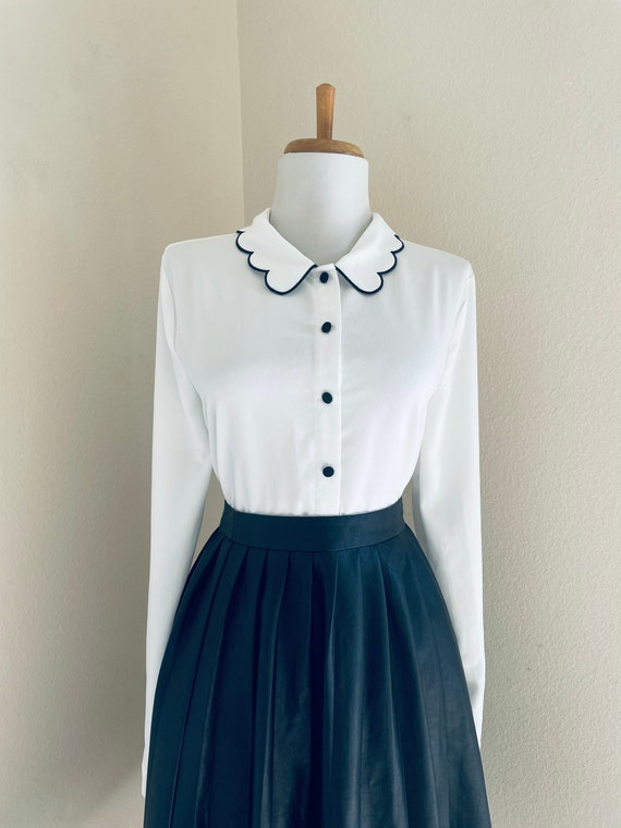 Pleated White Blouse Vintage 80s Button Up Shirt Minimal Long Sleeve Secretary Top with Beads