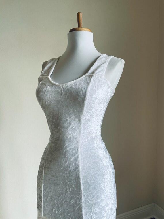 Vintage 90s White Crushed Velvet Maxi Dress / 1990