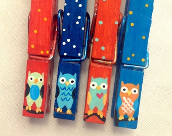 OWL CLOTHESPINS orange and blue hand painted magnets chip clip teacher gift