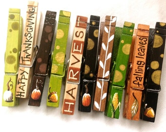 THANKSGIVING CLOTHESPINS hand painted magnets Harvest falling leaves pumpkin hostess gift