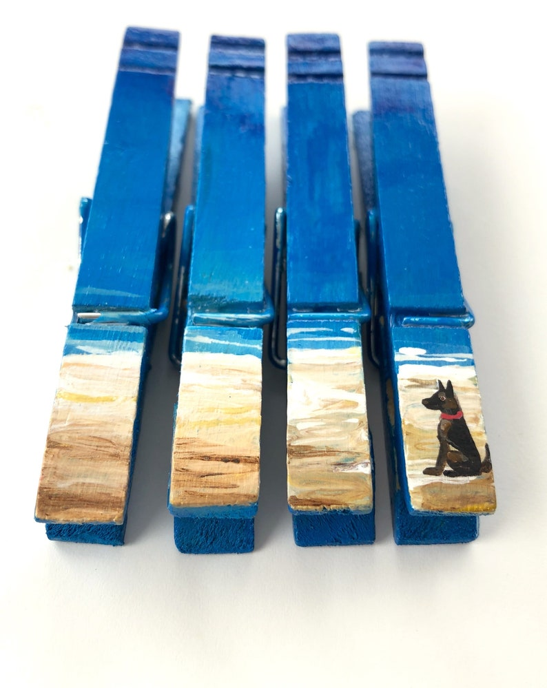 DOG at the BEACH CLOTHESPINS German Shepherd hand painted magnets coastal ocean seaside