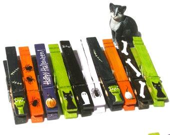 10 HALLOWEEN CLOTHESPINS hand painted magnets black orange purple green
