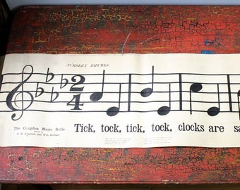 "Early 1900's Classroom Music Scroll - 93"" - Double Sided - May's Coming - Tick Tock"