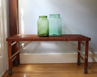 Vintage Wooden Folding Laundry Tub Bench   Beatty Bros.   Fergus Canada    Table   Industrial   Casters
