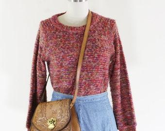Vintage Cozy Knit Sweater / Nubby Knit Style / Colorful Knit Sweater / Boho Style / M