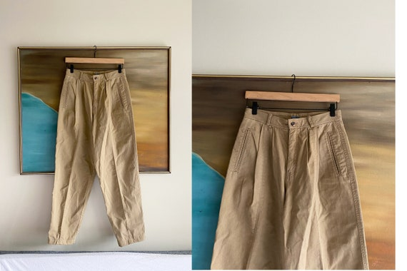 Vintage High Waisted Khaki Pants / Cotton Pants /