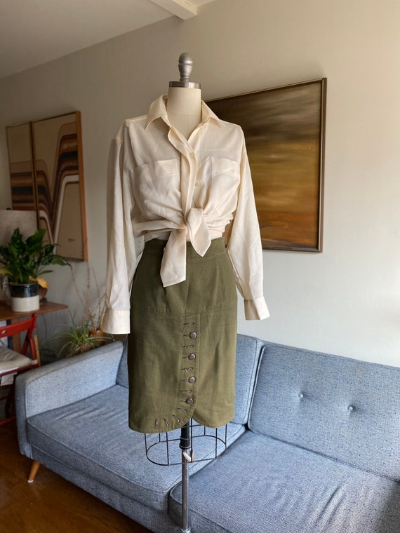 Vintage Mark Eisen Skirt, Olive Denim Skirt, High