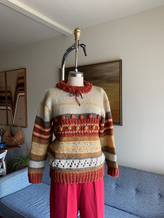 Vintage Wool Sweater / Textured Knit / M