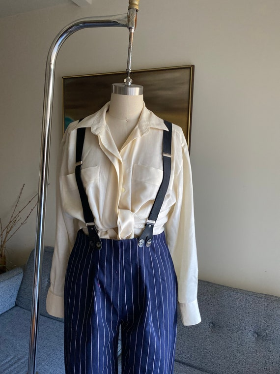 Vintage Striped Pants and Suspenders Set / High W… - image 5