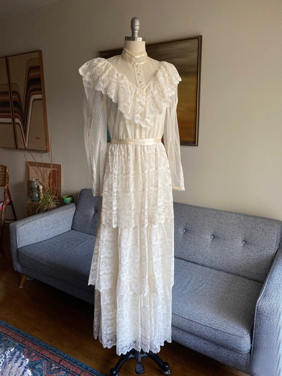 Vintage 70's Candi Jones Lace Tiered Dress, Praire