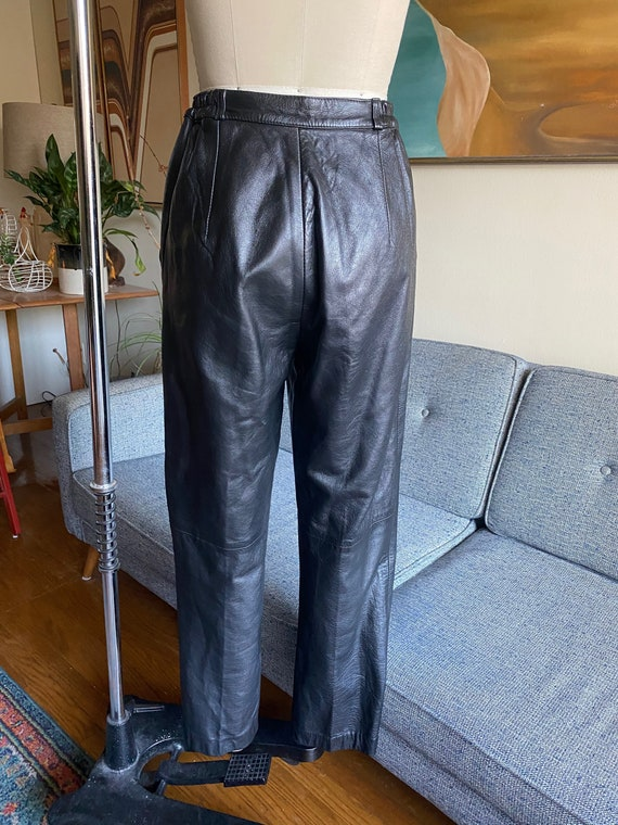 80's Leather Pants / Slouchy / High Waisted Pants… - image 8