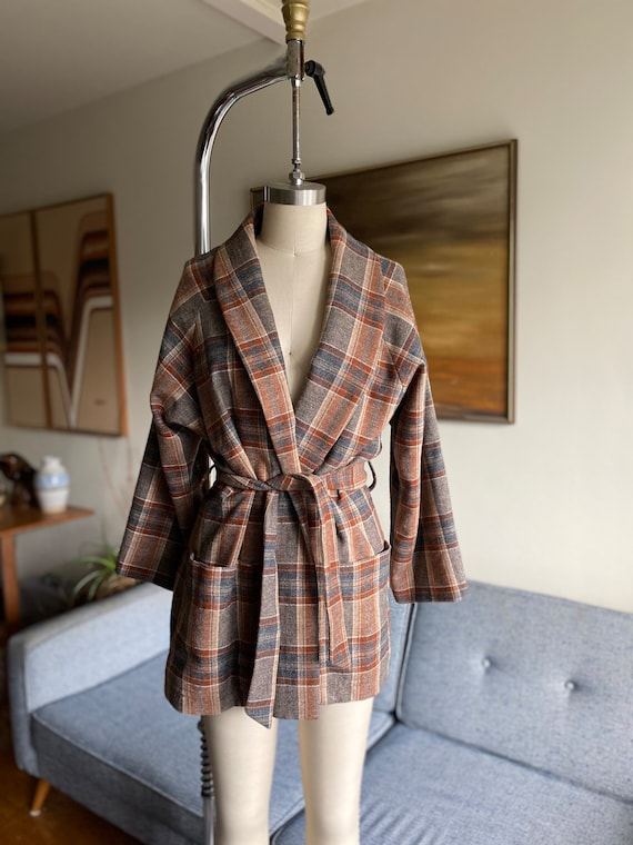 Vintage Wool Plaid Wrap Jacket, Shawl Collar, Time