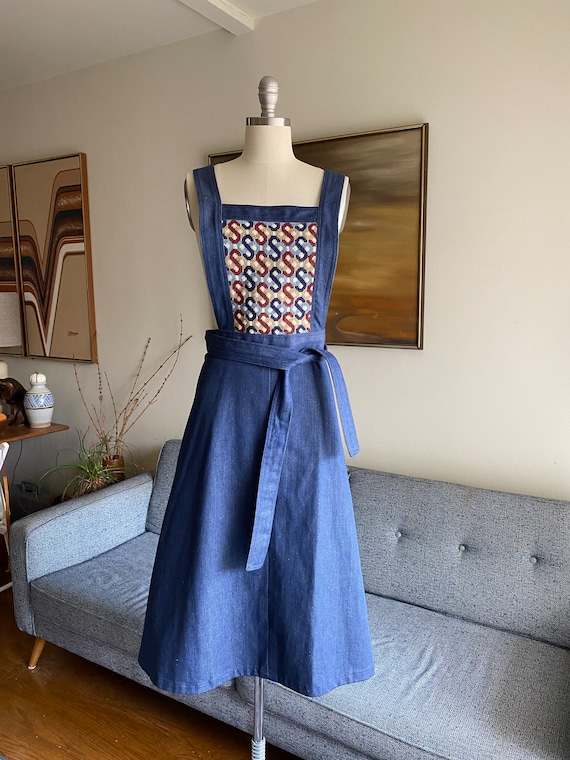 70's Denim Wrap Dress / Apron Dress / Needlepoint